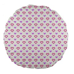 Pixel Hearts Large 18  Premium Flano Round Cushions by jumpercat