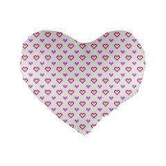 Pixel Hearts Standard 16  Premium Flano Heart Shape Cushions by jumpercat