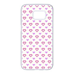 Pixel Hearts Samsung Galaxy S7 Edge White Seamless Case by jumpercat