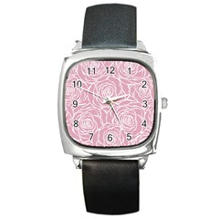Pink Peonies Square Metal Watch by 8fugoso