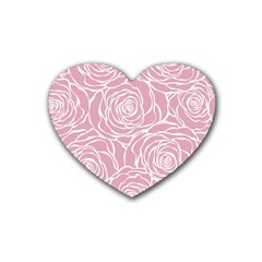 Pink Peonies Rubber Coaster (heart)  by 8fugoso