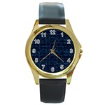 Sci Fi Tech Circuit Round Gold Metal Watch Front