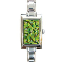 Tetris Camouflage Forest Rectangle Italian Charm Watch by jumpercat