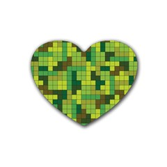 Tetris Camouflage Forest Rubber Coaster (heart)