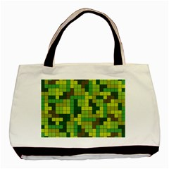 Tetris Camouflage Forest Basic Tote Bag (two Sides) by jumpercat