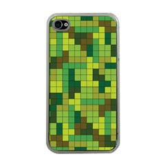Tetris Camouflage Forest Apple Iphone 4 Case (clear)