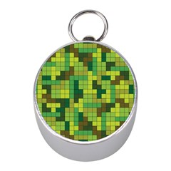 Tetris Camouflage Forest Mini Silver Compasses by jumpercat