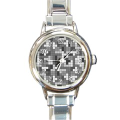 Tetris Camouflage Urban Round Italian Charm Watch by jumpercat