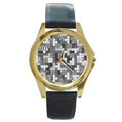 Tetris Camouflage Urban Round Gold Metal Watch by jumpercat