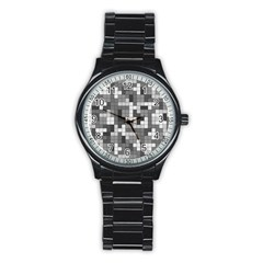 Tetris Camouflage Urban Stainless Steel Round Watch by jumpercat