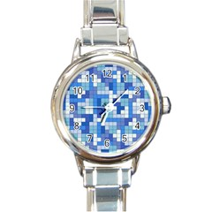 Tetris Camouflage Marine Round Italian Charm Watch by jumpercat