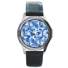 Tetris Camouflage Marine Round Metal Watch by jumpercat
