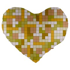 Tetris Camouflage Desert Large 19  Premium Heart Shape Cushions by jumpercat