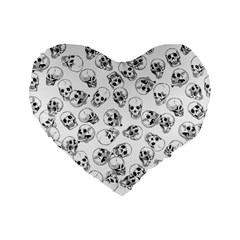 A Lot Of Skulls White Standard 16  Premium Heart Shape Cushions by jumpercat