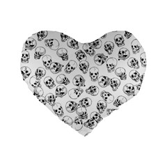 A Lot Of Skulls White Standard 16  Premium Flano Heart Shape Cushions by jumpercat