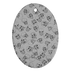 A Lot Of Skulls Grey Oval Ornament (two Sides) by jumpercat