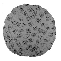 A Lot Of Skulls Grey Large 18  Premium Round Cushions by jumpercat