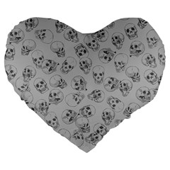 A Lot Of Skulls Grey Large 19  Premium Heart Shape Cushions by jumpercat