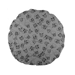 A Lot Of Skulls Grey Standard 15  Premium Flano Round Cushions by jumpercat