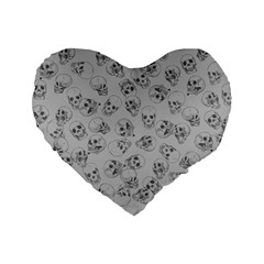 A Lot Of Skulls Grey Standard 16  Premium Flano Heart Shape Cushions by jumpercat