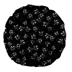 A Lot Of Skulls Black Large 18  Premium Round Cushions by jumpercat