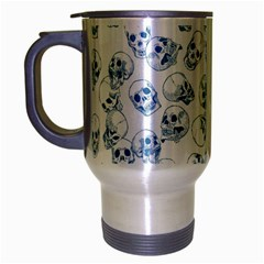 A Lot Of Skulls Blue Travel Mug (silver Gray) by jumpercat