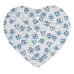 A Lot Of Skulls Blue Heart Ornament (two Sides) by jumpercat