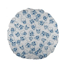 A Lot Of Skulls Blue Standard 15  Premium Round Cushions by jumpercat