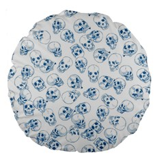 A Lot Of Skulls Blue Large 18  Premium Round Cushions by jumpercat