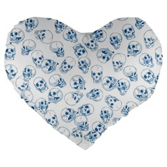 A Lot Of Skulls Blue Large 19  Premium Flano Heart Shape Cushions by jumpercat