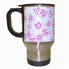A Lot Of Skulls Pink Travel Mugs (white) by jumpercat