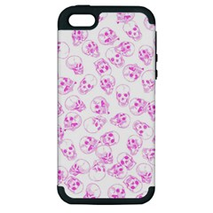 A Lot Of Skulls Pink Apple Iphone 5 Hardshell Case (pc+silicone) by jumpercat