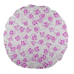 A Lot Of Skulls Pink Large 18  Premium Round Cushions by jumpercat