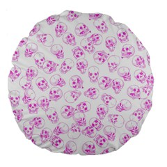 A Lot Of Skulls Pink Large 18  Premium Flano Round Cushions by jumpercat