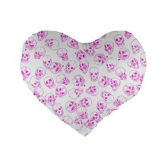 A Lot Of Skulls Pink Standard 16  Premium Flano Heart Shape Cushions by jumpercat
