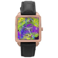 Ink Splash 02 Rose Gold Leather Watch  by jumpercat