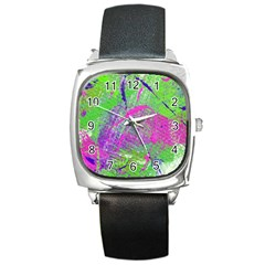 Ink Splash 03 Square Metal Watch by jumpercat