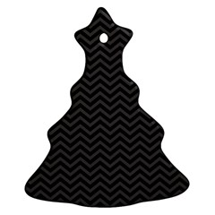 Dark Chevron Christmas Tree Ornament (two Sides) by jumpercat