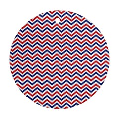 Navy Chevron Ornament (round) by jumpercat