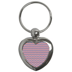 Navy Chevron Key Chains (heart)  by jumpercat