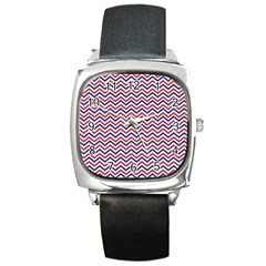 Navy Chevron Square Metal Watch by jumpercat