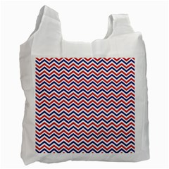Navy Chevron Recycle Bag (one Side) by jumpercat