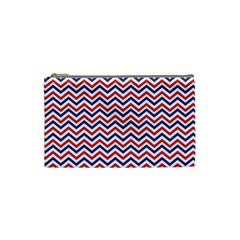 Navy Chevron Cosmetic Bag (small)  by jumpercat