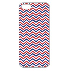 Navy Chevron Apple Seamless Iphone 5 Case (clear) by jumpercat