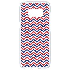 Navy Chevron Samsung Galaxy S8 White Seamless Case by jumpercat