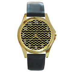 Yellow Chevron Round Gold Metal Watch