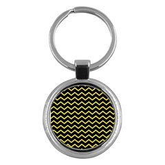 Yellow Chevron Key Chains (round)  by jumpercat