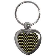 Yellow Chevron Key Chains (heart)  by jumpercat