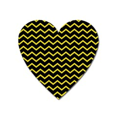Yellow Chevron Heart Magnet by jumpercat
