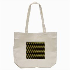 Yellow Chevron Tote Bag (cream) by jumpercat